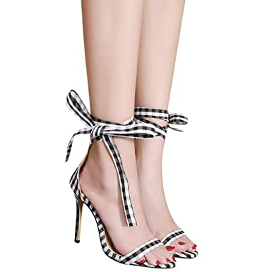 72dacc65c298d6 Women s Stiletto Heel Gladiator Lace up High Heels Ankle Strap Open Toe  Strappy Dress Sandals (