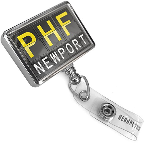 Retractable ID Badge Reel PHF Airport Code for Newport with Bulldog Belt Clip On Holder (Newport Belt)