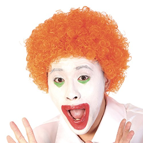 Orange Short Clown Afro Wig - Curly 70s 80s Disco Cosplay Synthetic Hair 8