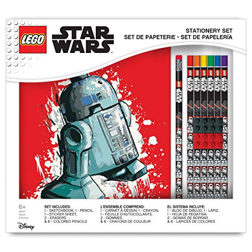 LEGO Star Wars Deluxe Drawing Gift Set with a Sketchbook, Erasers, Stickers, Colored Pencils, and Graphite Pencils