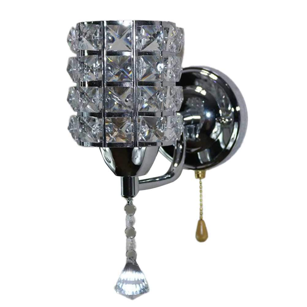 LEDMOMO K9 Wall Lamp Metal Glass Crystal Design Wall Light Creative Art Bedside Lamp Mirror Headlight for Bedroom Decor (Silver) - - Amazon.com