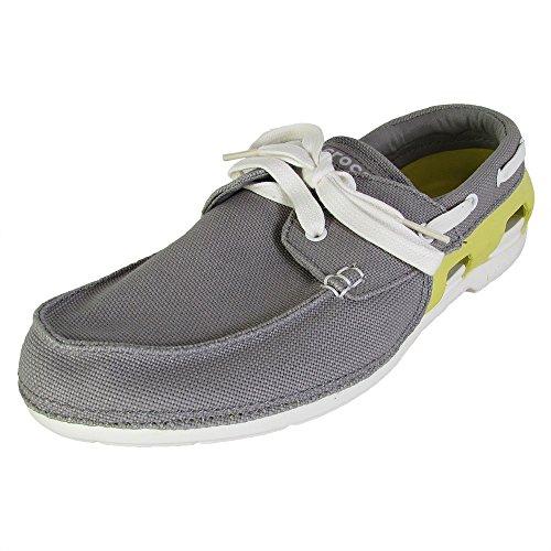 Croc Front Shoe (Crocs Mens Beach Line Lace up Boat Shoes, Smoke/Chartreuse, US 11)