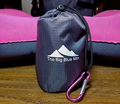 TheBigBlueMtn Ultralight Backpacking Inflatable Camping Pillow 2 Pack Set with Lightweight Compact Pouch Sack and Carabiner - Camp Hiking Summit Gear for Beach Sea Travel Hammock 2 The Big Blue Mtn