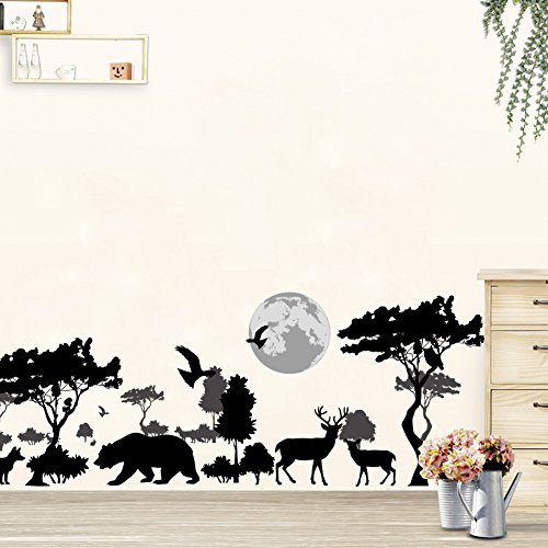 "Woodland Arts 35"" x 14"" Safari Jungle Wild Wolves Bears Elk"