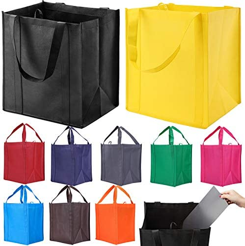 10 Pack Reusable Reinforced Handle Grocery Bags - Heavy Duty Large Shopping Totes with Thick Plastic Bottom can hang 40 lbs