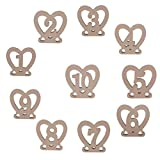 OUNONA 10pcs 1-10 Wodden Heart Shaped Table Numbers for Wedding or Home Decoration