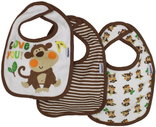 Gerber Baby-Boys  3 Pack Terry Dribbler Bib Monkey