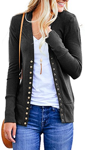 NENONA Women's V-Neck Button Down Knitwear Long Sleeve Soft Basic Knit Cardigan Sweater(Charcoal-S)