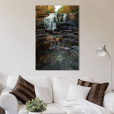 Pretty Print, Made to Last, Landscape Cascading Waterfall on Rocks in The Forest