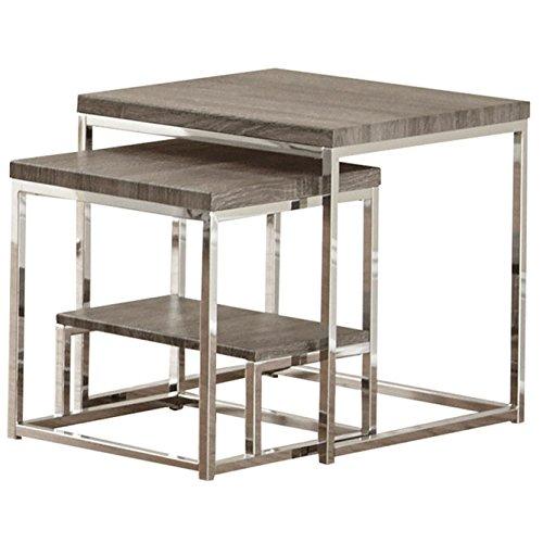 Steve Silver Company Lucia 2 Piece Nesting Tables, 20 x 20 x 20 , Grey