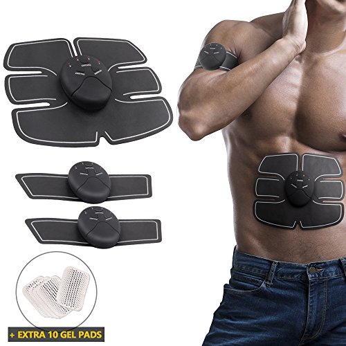 Electrode Arm (ABS Muscle Toner, Portable Easy Muscle Toning Belt Wireless Body Arm Leg Back Abdomen Fitness Muscle Trainer Gym Home Office Workout Equipment for Men Women With Extra 10 Gel Pads as Bonus)