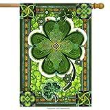 st patricks outdoor flags - Shamrocks St. Patricks Day Decorative House Flag Clovers Irish Holiday Green 28 x 40