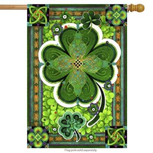 Shamrocks St. Patricks Day Decorative House Flag Clovers Iri