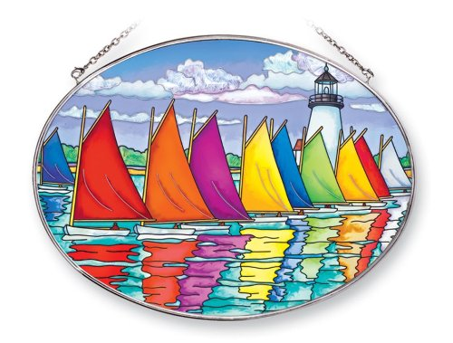 Glass Sailboat - Amia 41254 Rainbow Fleet of Sailboats 9 by 6-1/2-Inch Oval Sun Catcher, Large