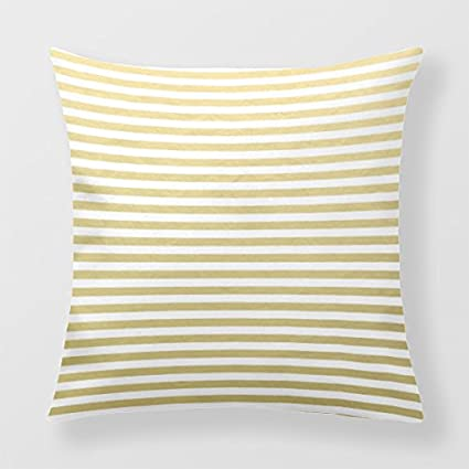 Lightinglife Cotton Cushion Cover Striped Sofa Cover Gold Foil Pattern 16 X 16 Pillow Cover xdq