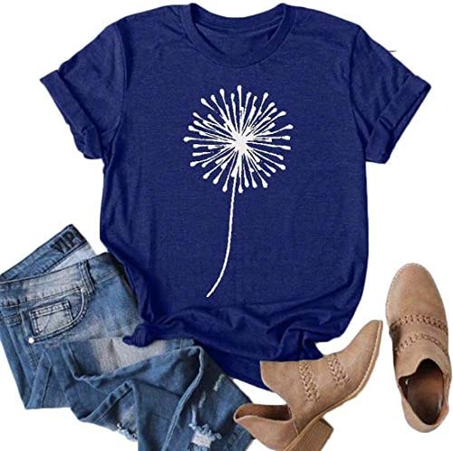 GRAPHIC TEES FOR WOMEN T SHIRTS CUTE DANDELION PRINTED TEE SHIRTS SUMMER COTTON VINTAGE TOPS