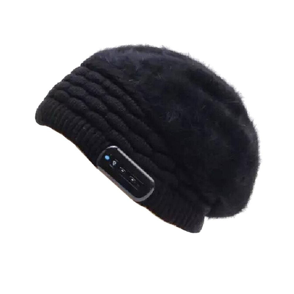 Women Winter Bluetooth Music Knit Hat Warm Beanie Cap Perfect for Outdoor Snowboarding Running Walking Cycling Fitness(Black) TTnight