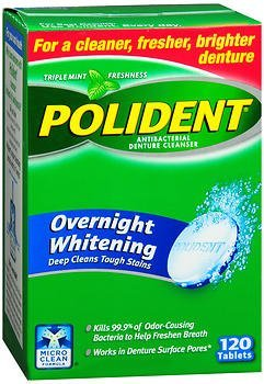 Polident Overnight Whitening Denture Cleanser 120 Tablets (Pack of 2) by Polident