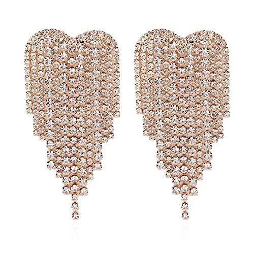 GUYUEXING Full Rhinestones Tassels Heart Shape Large Sparkling Dangle Earrings for Women (Gold)