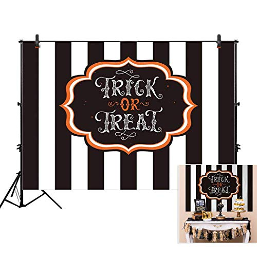 Allenjoy 7x5ft Trick Or Treat Halloween Stripe Backdrop for Holiday Family Event 2018 Celebration Party Decor Backdorps Happy Birthday Decoration Pictures Background Supplies Photo Booth Props