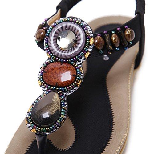 VFDB Women's Thong Flat Sandals T-Strap Summer Bohemian Rhinestone Slingback Beach Flip Flops Shoes Black US 7.5 by VFDB (Image #3)
