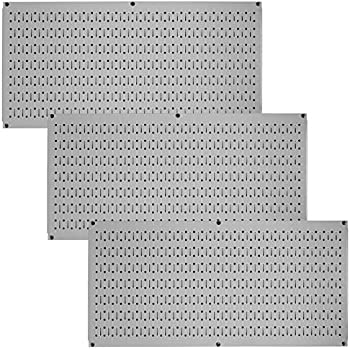 Wall Control Pegboard Value Pack - (3) Pack of Wall Control 16-Inch Tall x 32-Inch Wide Horizontal Metal Pegboards for Easy to Install Wall Home & Garage Tool Storage Organization (Grey Pegboard)
