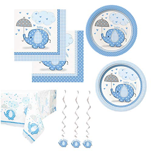- Unique Umbrellaphants Blue Party Bundle | Luncheon & Beverage Napkins, Dinner & Dessert Plates, Table Cover, Hanging Whirls | Great for Baby Boy Showers