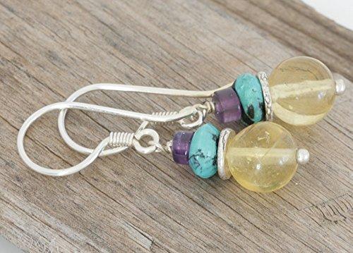Ring Yellow Fluorite (Yellow Fluorite AMETHYST Turquoise Sterling Hill Tribe Silver Dangle Artisan Earrings)