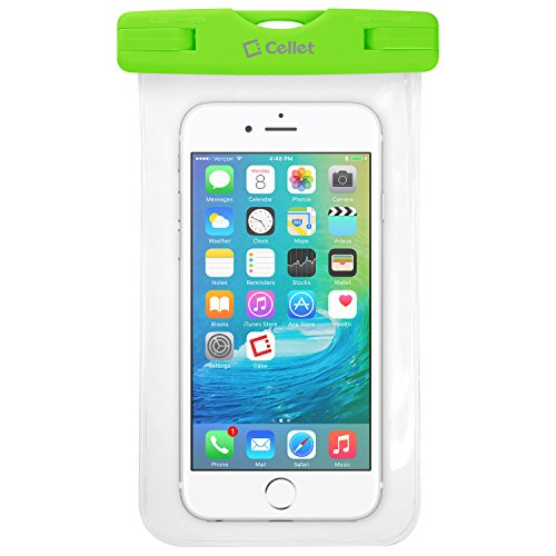 Waterproof Case for Smartphones by Cellet-Universal Compatibility Including iPhone 7 Plus, 6s Plus, Samsung Galaxy S7 Edge, Digital Cameras, MP3 Players and More - IPX8 Certification-Green