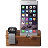 Urvoix Apple Watch / iPhone Charging Stand, Bamboo Wood Charger Station Cradle Holder Platform [Charging Dock]
