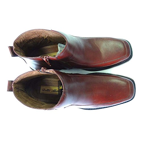 NEW MENS LEATHER ANKLE BOOTS CASUAL ZIPPERED STRETCH FIT DRESS SHOES 566/ BROWN 42rhKD