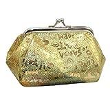 Coin Purse For Women Girls, Quistal Luminous Wallet Card Holder Iridescent Small Change Coin Purse Clutch Bag Handbag (Gold)