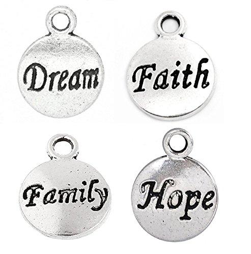 (Inspiration Message Charm Bundle, Dream, Hope, Family, Faith - 250 Pieces)