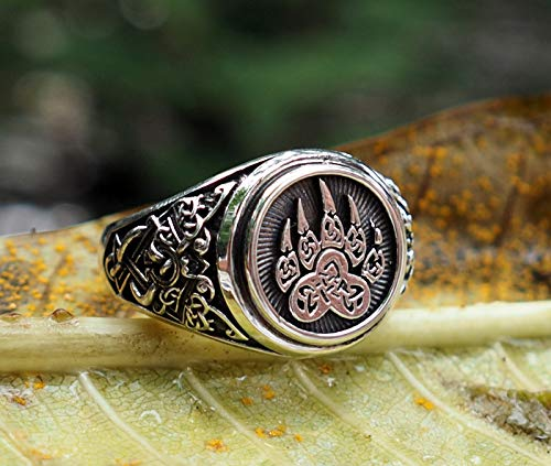 - Bear Paw Ring Viking Print Bear Paw Claw Slavic Ring Norse Viking Ring Viking Jewelry with in 925 Sterling Silver