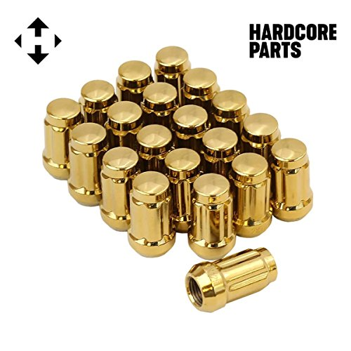 20 QTY Gold Closed End Spline Drive Lug Nuts with Key- Metric 12x1.5 Threads - Conical Cone Taper Acorn Seat Closed End - 1.4