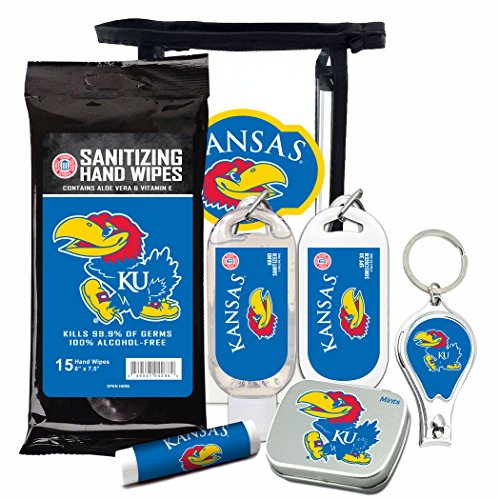 Kansas Jayhawks 6-Piece Fan Kit with Decorative Mint Tin, Nail Clippers, Hand Sanitizer, SPF 15 Lip Balm, SPF 30 Sunscreen, Sanitizer Wipes. NCAA Gifts for Men and Women ()