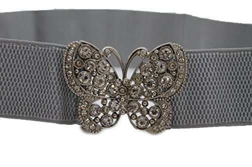 Butterfly Elastic Belt (TFJ Women Elastic Fashion Belt Hip High Waist Silver Metal Butterfly Buckle S M)
