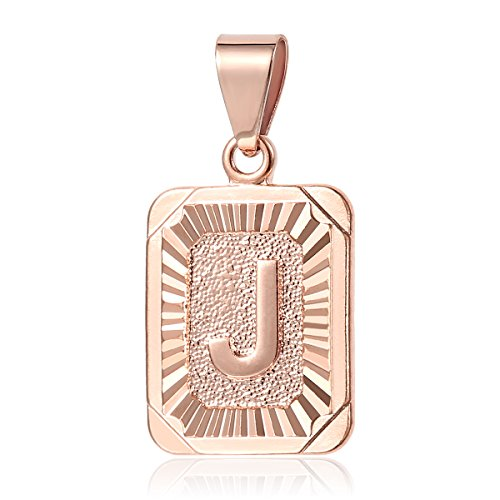 Square Initial Letter J for Rose Gold Filled Womens Mens GF (Gold Square Charm)