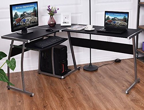 K&A Company Writing Computer Desk Table Student Storage Shelves Kids Room New Furniture Dorm Laptop Wood Corner Drawer Office Shelf Work Unit L-Shaped Large by K&A Company