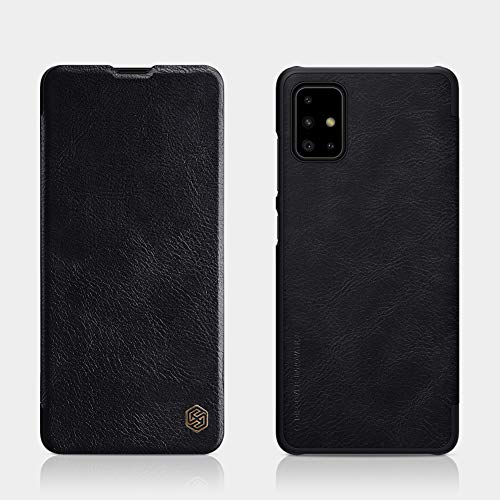 Nillkin Case for Samsung Galaxy A51 A 51 (6.5″ Inch) Qin Genuine Classic Leather Flip Folio + Card Slot Black Color