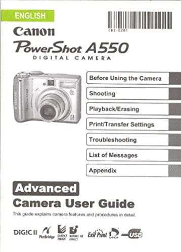 canon powershot a550 original advanced user guide instruction manual rh amazon com Sony A550 Lenses Sony A550 Lenses