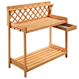 Outdoor Bakers Rack Garden Potting Work Bench With Lower Shelf Side Drawer Tools Storage Patio Backyard Decoration Gardening And Planting Furniture Solid Wood Construction Spacious Work Top
