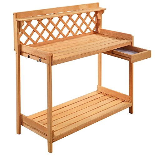 [Garden Work Potting Outdoor Bench Decor Station Patio Gardening And Planting Solid Wood Construction Lower Shelf Drawer Free Standing Furniture Spacious Work Top] (Shelf Butcher Block Lower)