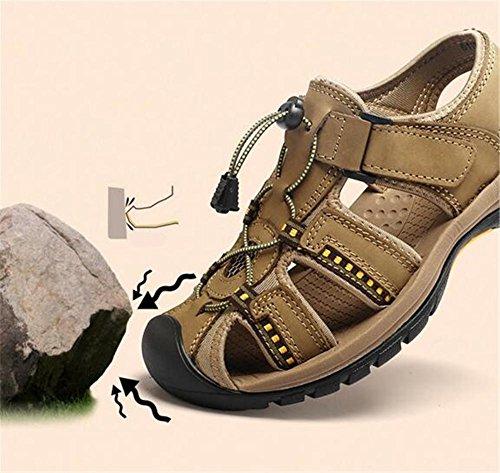 Diapositives EU38 Hommes xie Air Chaussures 43 Fermé Plage Antidérapant à KHAKI Cuir Respirant Véritable Toe Marcher 38 Voyager Taille En Sandales Été Pêcheur Trekking En Plein qTT74dx
