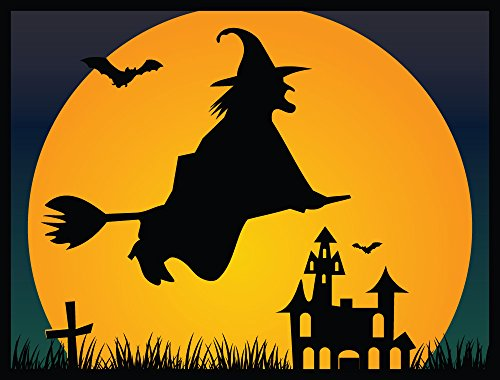 [Halloween Decoration Front Door Welcome Mat - Flying Witch - 24 x 18 Inch Doormat] (Animated Lifesize Flying Witch)