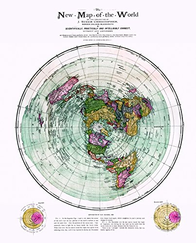 New Flat Earth Map.Amazon Com Flat Earth Map The New Map Of The World Circa 1899
