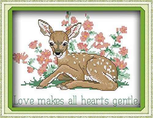 w Cross Stitch Kits Needlecrafts Patterns Counted Embroidery Kit - Meek Deers (STAMPED) ()