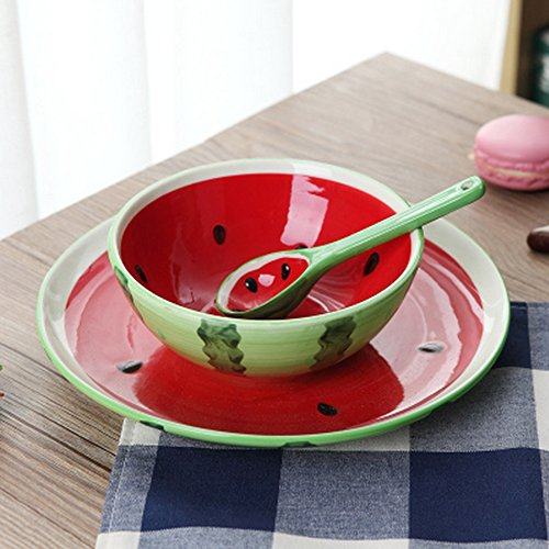 LONGPRO Creative Ceramic Colorful Fruit Living Bowl Cute Soup Bowl Lively Rice Bowl Deluxe Pure Hand-painted Children Suit Tableware(1 x spoon,1 x bowl,1 x plate)