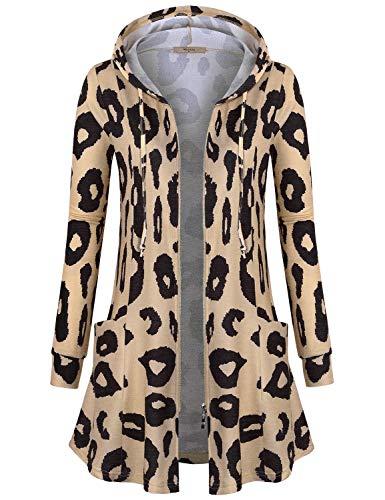 Miusey Womens Zip Up Long Hoodie Jacket Tunic Sweatshirt Open Front Cardigan