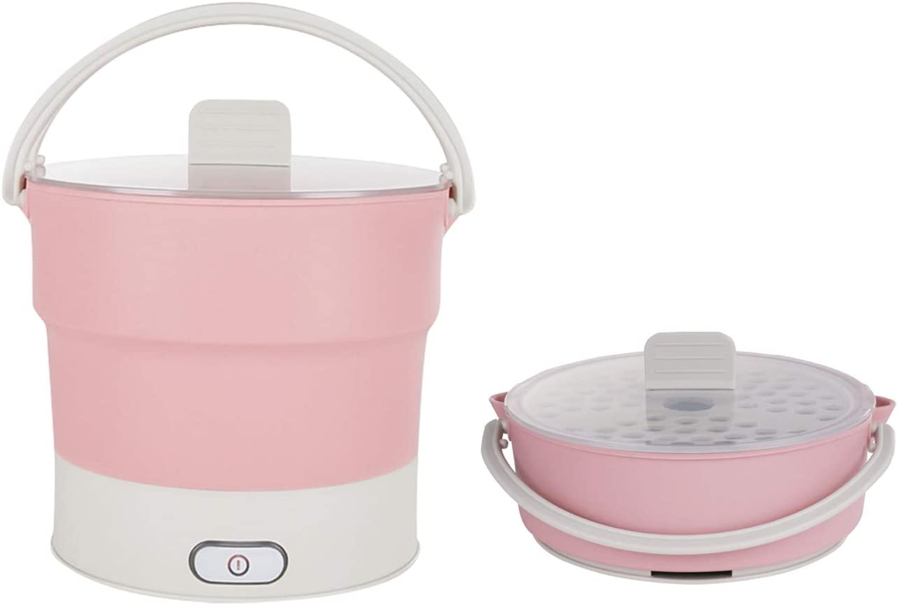 Foldable Electric Hot Pot Cooker Dual Voltage100V-240V Mini Kettle Food Grade Silicone Cookerware Boiling Water Steamer Portable Travel Hot Pot (Pink-Hot-Pots)